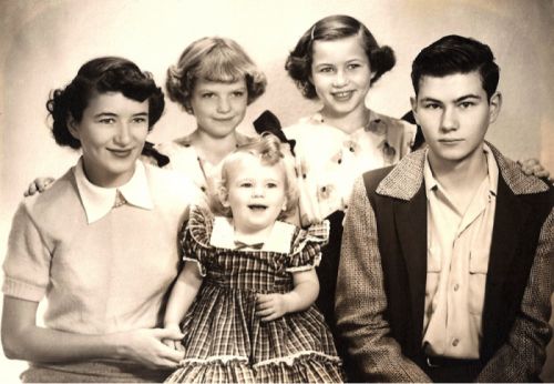 Clemens siblings, 1950, Sonora, California L-R: Carleen, Claudia, Cathy (Catherine) in middle, Betty (Liz), Larry (Gordon)
