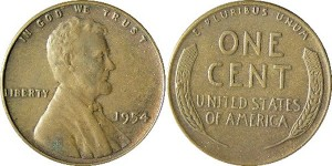 Lincoln head penny, 1954 plain