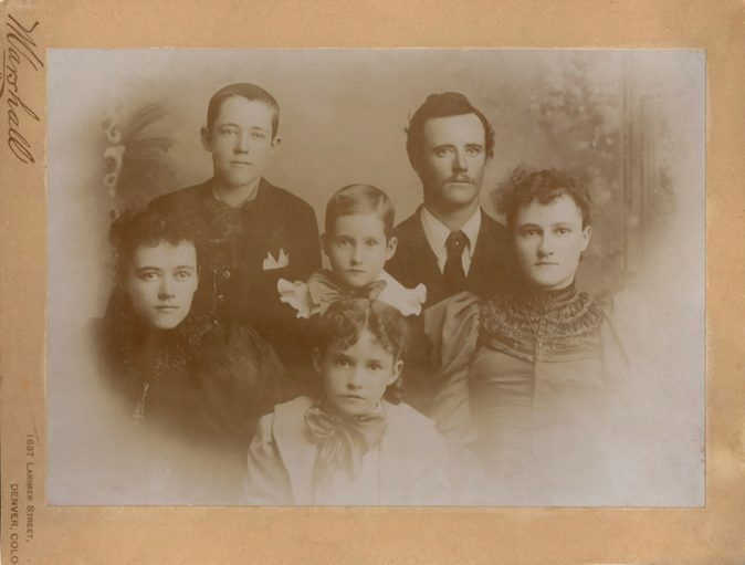 Chamberlin children, circa 1896, from l-r: (boys) Roy, Joe, Fred, (girls) Nellie, Mamie, Ada